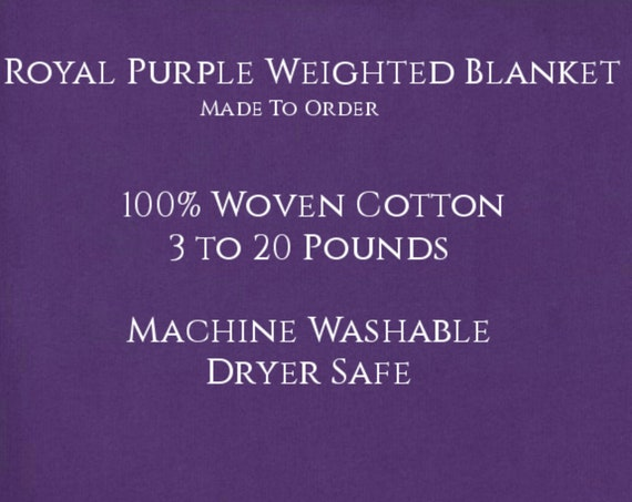 Solid Color, Weighted Blanket, Royal Purple, Up to Twin Size 3 to 20 Pounds.  Calming, Heavy Blanket, SPD, Autism, Weighted Blanket.