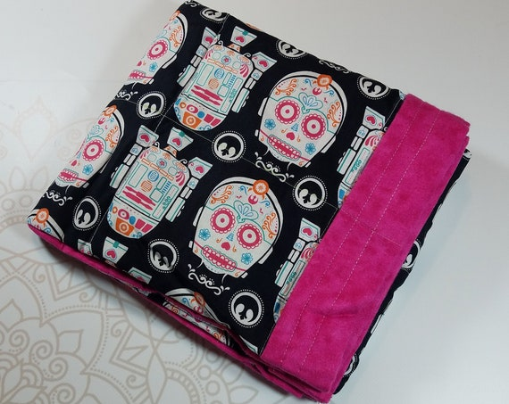 Sugar Skull, 4 pound, WEIGHTED BLANKET, 4 pounds, 28x32, for Autism, Sensory, ADHD, Calming, Anxiety,