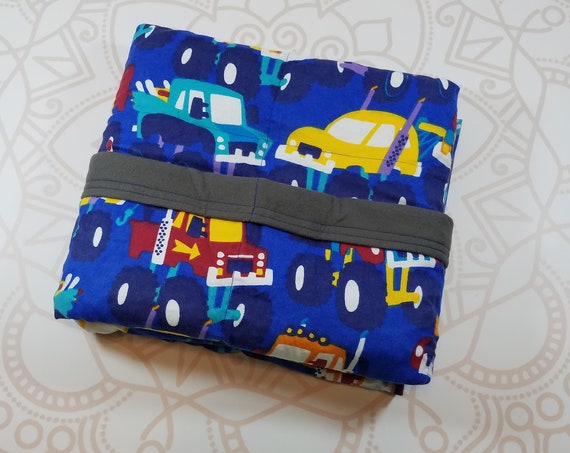 Ready To Ship, Monster Trucks, 7 Pound, WEIGHTED BLANKET, Ready To Ship, 7 pounds, 40x42, for Autism, Sensory, ADHD, Calming