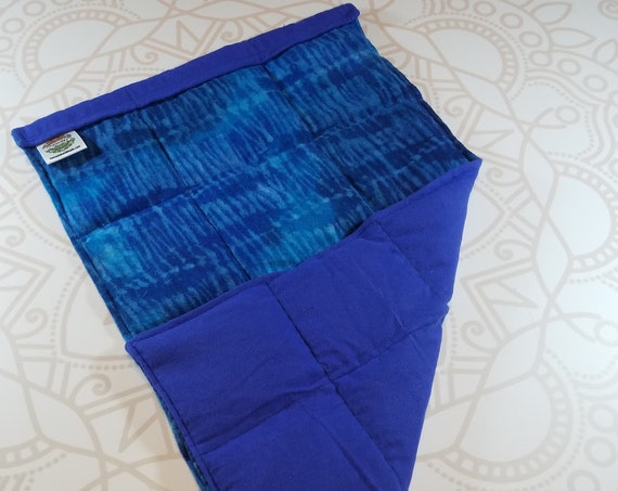 READY TO SHIP, Blue Watercolor Front, Royal Blue Back, Lap Pad/Weighted Blanket, 3 pounds, 14x22, Small Weighted Blanket