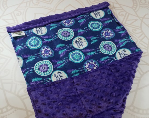 READY TO SHIP, Dreamcatcher Front, Purple Minky Back, Lap Pad/Weighted Blanket, 3 pounds, 14x22, Small Weighted Blanket