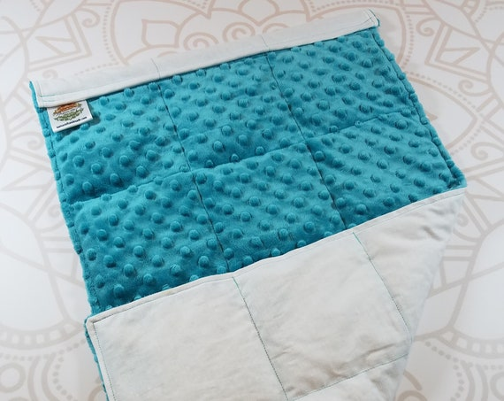 READY TO SHIP, Teal Minky Front, White Woven Cotton Back, Lap Pad/Weighted Blanket, 3 pounds, 14x22, Small Weighted Blanket