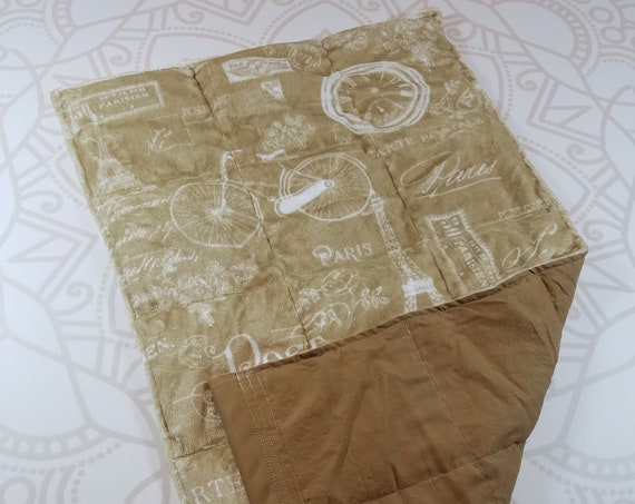 READY TO SHIP, Paris Themed Minky, Beige Woven Cotton Back, Lap Pad/Weighted Blanket, 3 pounds, 14x22, Small Weighted Blanket