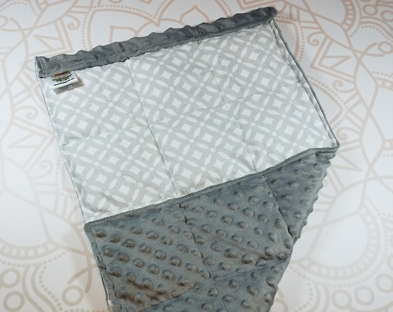 READY TO SHIP, Gray Geometric Front, Charcoal Minky Back, Lap Pad/Weighted Blanket, 3 pounds, 14x22, Small Weighted Blanket