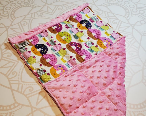 READY TO SHIP, Donut Front, Lt Pink Minky Back, Lap Pad/Weighted Blanket, 3 pounds, 14x22, Small Weighted Blanket