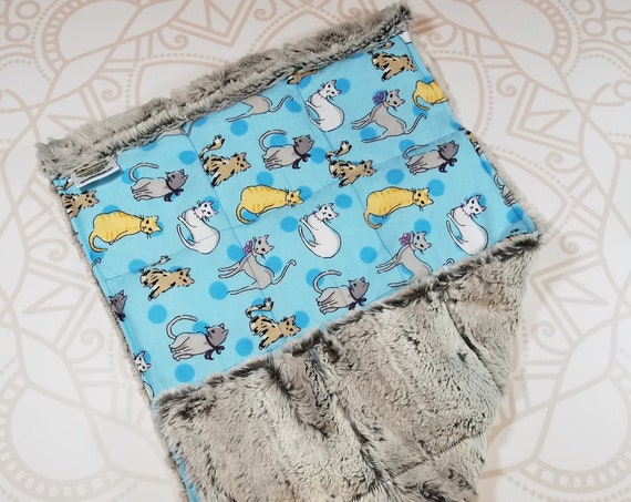READY TO SHIP, Cats Front, Fox Hide Minky Back, Lap Pad/Weighted Blanket, 3 pounds, 14x22, Small Weighted Blanket