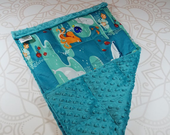 READY TO SHIP, Movie Front, Teal Minky Back, Lap Pad/Weighted Blanket, 3 pounds, 14x22, Small Weighted Blanket