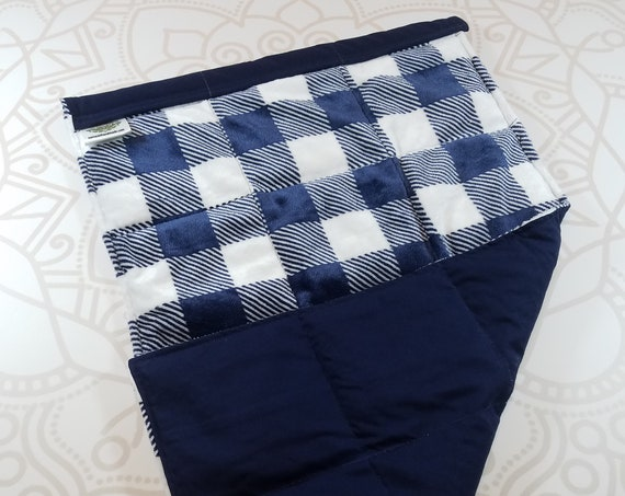 READY TO SHIP, Navy Checked Minky Front, Navy Cotton Back, Lap Pad/Weighted Blanket, 3 pounds, 14x22, Small Weighted Blanket
