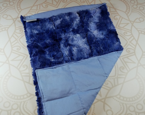 READY TO SHIP, Blue Galaxy Minky Front, Lt. Blue Woven Cotton Back, Lap Pad/Weighted Blanket, 3 pounds, 14x22, Small Weighted Blanket