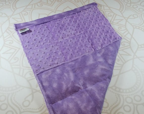 READY TO SHIP, Lilac Minky Front, Lilac Tie Dye Cotton Flannel Back, Lap Pad/Weighted Blanket, 3 pounds, 14x22, Small Weighted Blanket