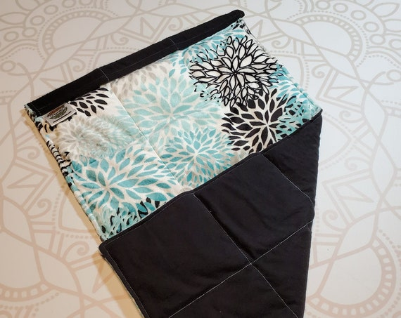 READY TO SHIP, Teal Flower Minky Front, Black Cotton Flannel Back, Lap Pad/Weighted Blanket, 3 pounds, 14x22, Small Weighted Blanket