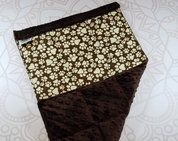 READY TO SHIP, Paw Print Front, Brown Minky Back, Lap Pad/Weighted Blanket, 3 pounds, 14x22, Small Weighted Blanket