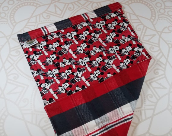 READY TO SHIP, Mouse Front, Red Black Plaid Back, Lap Pad/Weighted Blanket, 3 pounds, 14x22, Small Weighted Blanket