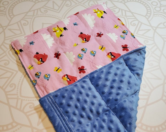 READY TO SHIP, Bird Front, Blue Minky Back, Lap Pad/Weighted Blanket, 3 pounds, 14x22, Small Weighted Blanket