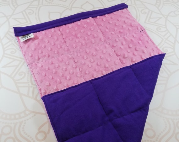 READY TO SHIP, Pink Minky Front, Purple Cotton Flannel Back, Lap Pad/Weighted Blanket, 3 pounds, 14x22, Small Weighted Blanket