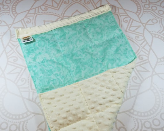 READY TO SHIP, Mint Tie Dye Front, Ivory Minky Back, Lap Pad/Weighted Blanket, 3 pounds, 14x22, Small Weighted Blanket