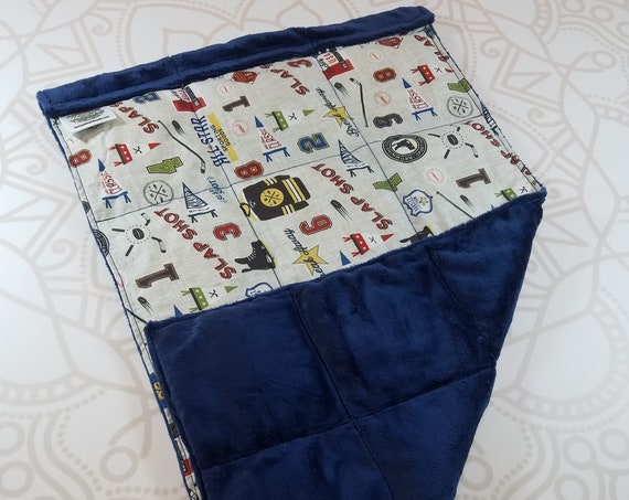 READY TO SHIP, Hockey Front, Navy Smooth Minky Back, Lap Pad/Weighted Blanket, 3 pounds, 14x22, Small Weighted Blanket