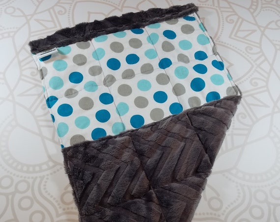 READY TO SHIP, Teal Gray Dots Front, Gray Chevron Minky Back, Lap Pad/Weighted Blanket, 3 pounds, 14x22, Small Weighted Blanket
