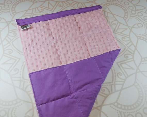READY TO SHIP, Pink Minky Front, Lilac Woven Cotton Back, Lap Pad/Weighted Blanket, 3 pounds, 14x22, Small Weighted Blanket