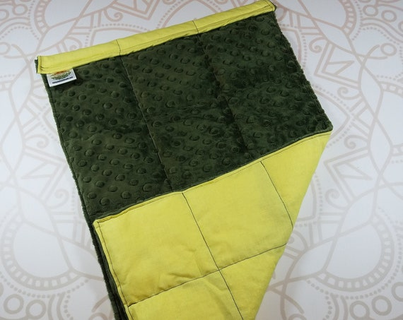 READY TO SHIP, Olive Green Minky Front, Yellow Woven Cotton Back, Lap Pad/Weighted Blanket, 3 pounds, 14x22, Small Weighted Blanket