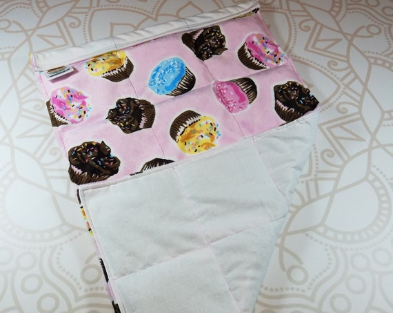 READY TO SHIP, Cupcake Minky Front, White Cotton Back, Lap Pad/Weighted Blanket, 3 pounds, 14x22, Small Weighted Blanket