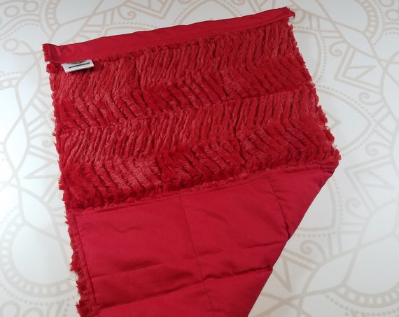 READY TO SHIP, Red Ziggy Minky Front, Red Woven Cotton Back, Lap Pad/Weighted Blanket, 3 pounds, 14x22, Small Weighted Blanket