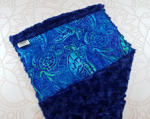 READY TO SHIP, Turtle Batik, Navy Rosette Minky Back, Lap Pad/Weighted Blanket, 3 pounds, 14x22, Small Weighted Blanket