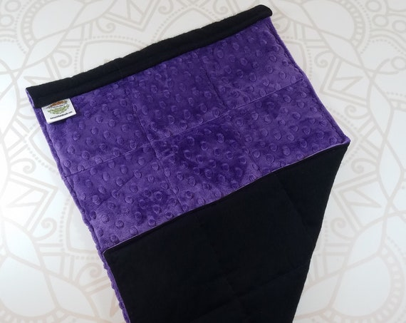 READY TO SHIP, Purple Minky Front, Black Back, Lap Pad/Weighted Blanket, 3 pounds, 14x22, Small Weighted Blanket