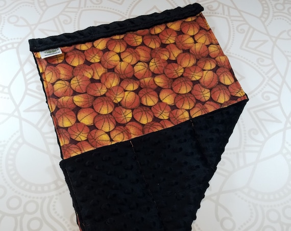 READY TO SHIP, Basketball Front, Black Minky Back, Lap Pad/Weighted Blanket, 3 pounds, 14x22, Small Weighted Blanket