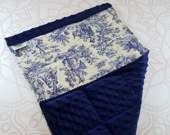 READY TO SHIP, Navy Toile Front, Navy Minky Back, Lap Pad/Weighted Blanket, 3 pounds, 14x22, Small Weighted Blanket