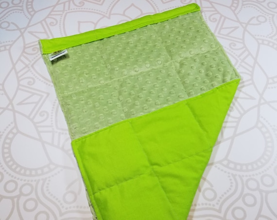 READY TO SHIP, Sage Minky Front, Lime Cotton Back, Lap Pad/Weighted Blanket, 3 pounds, 14x22, Small Weighted Blanket