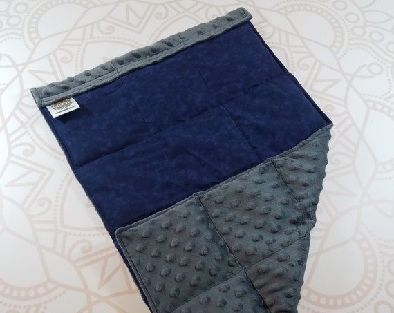 READY TO SHIP, Navy Tie Dye Front, Charcoal Minky Back, Lap Pad/Weighted Blanket, 3 pounds, 14x22, Small Weighted Blanket