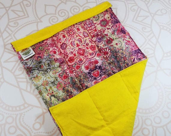 READY TO SHIP, Turkish Smooth Minky Front, Yellow Flannel Back, Lap Pad/Weighted Blanket, 3 pounds, 14x22, Small Weighted Blanket