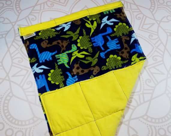 READY TO SHIP, Dinosaur Minky Front, Yellow Woven Cotton Back, Lap Pad/Weighted Blanket, 3 pounds, 14x22, Small Weighted Blanket