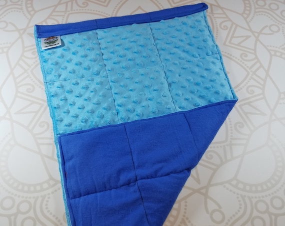 READY TO SHIP, Light Blue Minky Front, Royal Blue Cotton Flannel Back, Lap Pad/Weighted Blanket, 3 pounds, 14x22, Small Weighted Blanket