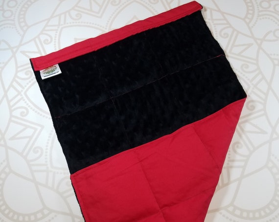 READY TO SHIP, Black Minky Front, Red Cotton Back, Lap Pad/Weighted Blanket, 3 pounds, 14x22, Small Weighted Blanket