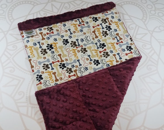 READY TO SHIP, Dog Words Front, Merlot Minky Back, Lap Pad/Weighted Blanket, 3 pounds, 14x22, Small Weighted Blanket