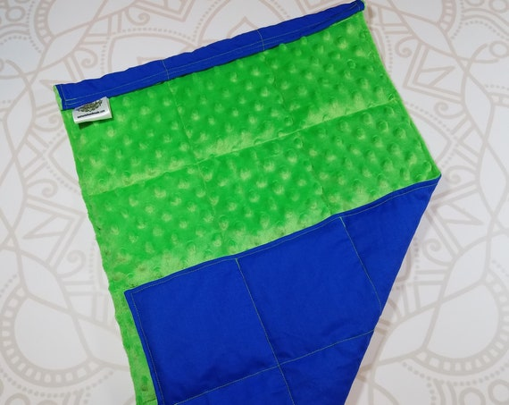 READY TO SHIP, Lime Minky Front, Royal Blue Cotton Back, Lap Pad/Weighted Blanket, 3 pounds, 14x22, Small Weighted Blanket