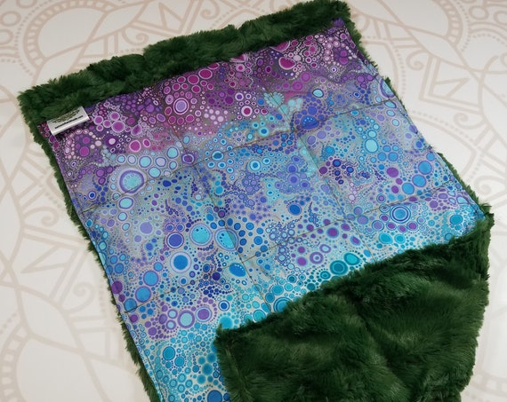 READY TO SHIP, Colorful Bubbles Front, Green Hide Minky Back, Lap Pad/Weighted Blanket, 3 pounds, 14x22, Small Weighted Blanket