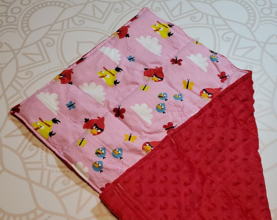 READY TO SHIP, Bird Front, Red Minky Back, Lap Pad/Weighted Blanket, 3 pounds, 14x22, Small Weighted Blanket