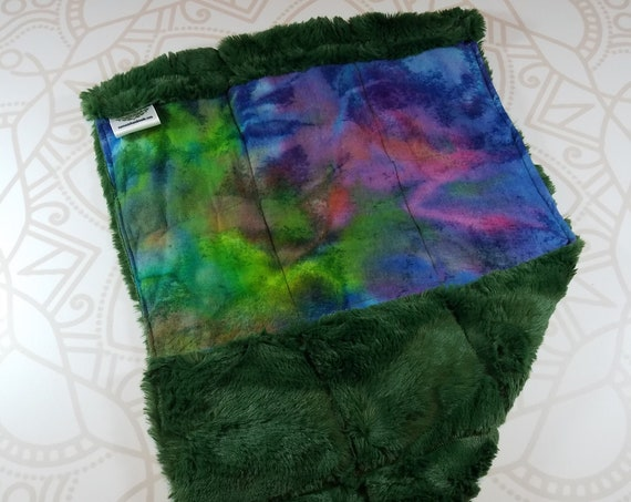 READY TO SHIP, Colorful Tie Dye Front, Green Hide Minky Back, Lap Pad/Weighted Blanket, 3 pounds, 14x22, Small Weighted Blanket