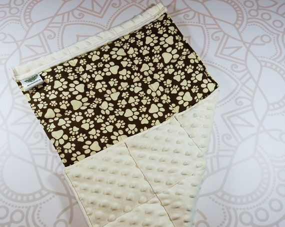 READY TO SHIP, Paw Print Front, Ivory Minky Back, Lap Pad/Weighted Blanket, 3 pounds, 14x22, Small Weighted Blanket
