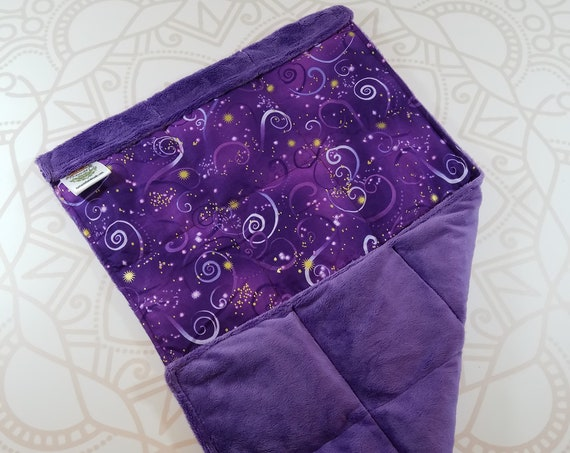 READY TO SHIP, Purple Swirl Front, Purple Smooth Minky Back, Lap Pad/Weighted Blanket, 3 pounds, 14x22, Small Weighted Blanket