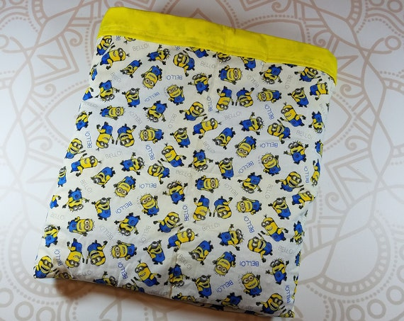 Ready To Ship, 9 Pound, Movie, Yellow Cotton, 9 Pound, WEIGHTED BLANKET, Ready To Ship, 9 pounds, 40x42 for Autism, Sensory