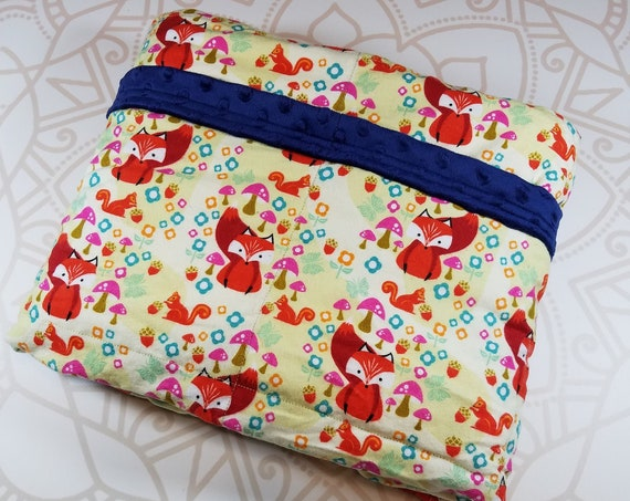 READY TO SHIP, 40x42, 6 pounds, Fox Cotton Flannel Front, Navy Minky Back, Weighted Blanket, Autism, Minky weighted blanket