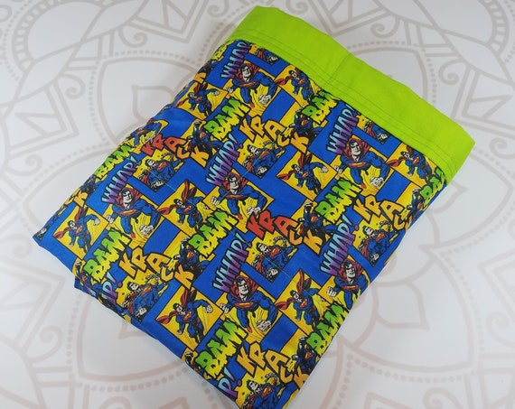 Ready To Ship, 4 Pound, 28x32, Super Hero, Lime Woven Cotton Back, WEIGHTED BLANKET, Autism, Sensory, ADHD, Calming, Anxiety