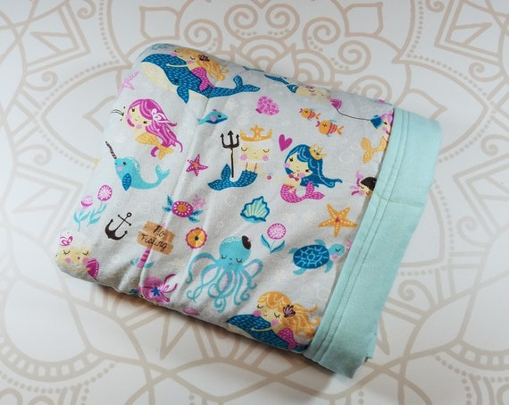 Ready To Ship, 5 Pound, 28x32, WEIGHTED BLANKET, Mermaid, Mint Flannel Back, Autism, ADHD, Calming, Anxiety