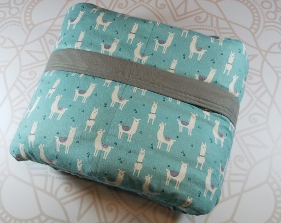 READY to SHIP, 40x60-10 Pounds, Weighted Blanket, Llama Cotton Flannel, Gray Cotton Flannel Backing, Sensory Blanket, Calming Blanket,