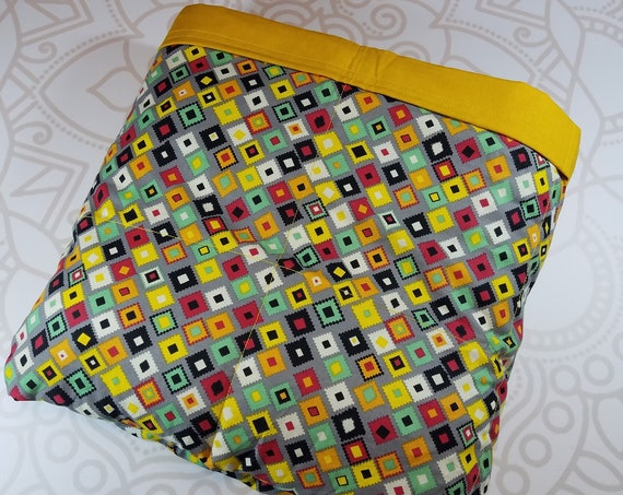 READY to SHIP, 40x70-20 Pounds, Weighted Blanket, Colorful Tiles, Mustard Cotton Back, Sensory Blanket, Calming Blanket,