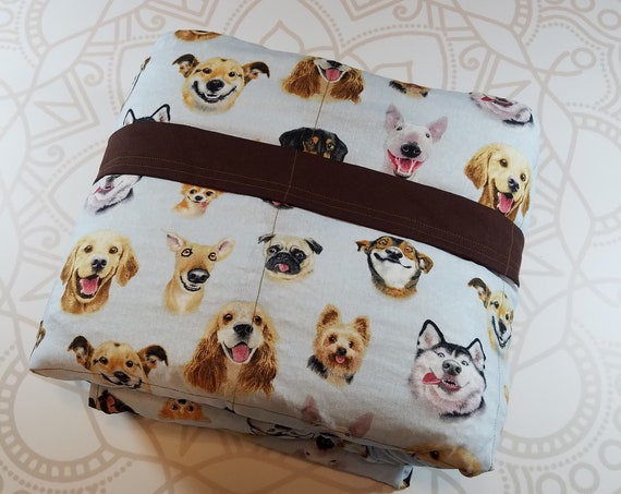 READY to SHIP, 40x80, 20 Pounds, Weighted Blanket, Dog Selfies, Brown Woven Cotton Back, Sensory Blanket, Calming Blanket,